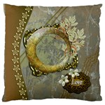 floral gold large flano cusion case - Large Flano Cushion Case (One Side)