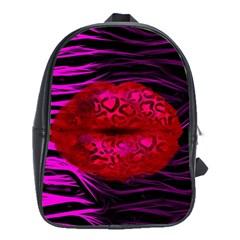Sassy Lips Cheetah School Bag (large) by OCDesignss