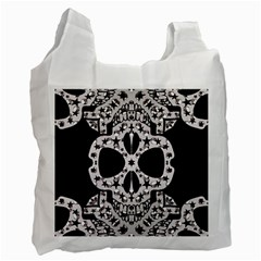 Metal Texture Silver Skulls  White Reusable Bag (two Sides) by OCDesignss