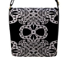 Metal Texture Silver Skulls  Flap Closure Messenger Bag (large) by OCDesignss