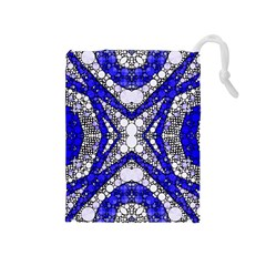 Flashy Bling Blue Silver  Drawstring Pouch (medium)