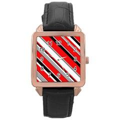Pattern Rose Gold Leather Watch  by Siebenhuehner
