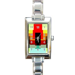 Pattern Rectangular Italian Charm Watch by Siebenhuehner