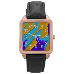 Pattern Rose Gold Leather Watch  by Siebenhuehner