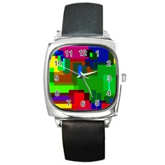 Pattern Square Leather Watch by Siebenhuehner