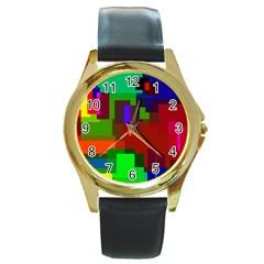 Pattern Round Leather Watch (gold Rim)  by Siebenhuehner