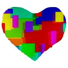 Pattern Large Flano Heart Shape Cushion