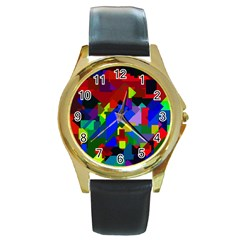 Pattern Round Leather Watch (gold Rim)