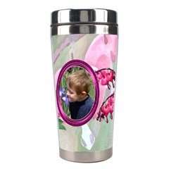 Bleeding Heart Stainless Steel Travel Tumlber Pink By Chere s Creations   Stainless Steel Travel Tumbler   Tnjjcean1zz2   Www Artscow Com Left
