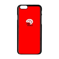 All Brains Red Apple Iphone 6 Black Enamel Case by OCDesignss