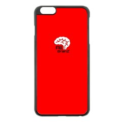 All Brains Red Apple Iphone 6 Plus Black Enamel Case by OCDesignss