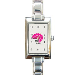 All Brains Leather  Rectangular Italian Charm Watch by OCDesignss