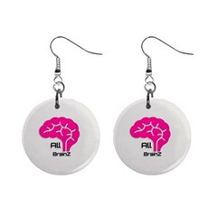 All Brains Leather  Mini Button Earrings