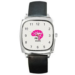 All Brains Leather  Square Leather Watch by OCDesignss