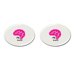 All Brains Leather  Cufflinks (oval) by OCDesignss