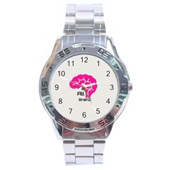 All Brains Leather  Stainless Steel Watch by OCDesignss