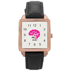 All Brains Leather  Rose Gold Leather Watch  by OCDesignss