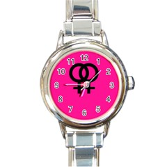 Girl Love  Round Italian Charm Watch by OCDesignss