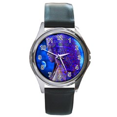 Moon Shadow Round Leather Watch (silver Rim) by icarusismartdesigns