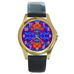 Abstract Reflections Round Leather Watch (gold Rim)  by icarusismartdesigns