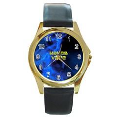 Wake&vape Blue Smoke  Round Leather Watch (gold Rim)  by OCDesignss