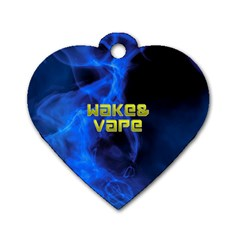 Wake&vape Blue Smoke  Dog Tag Heart (one Sided)  by OCDesignss