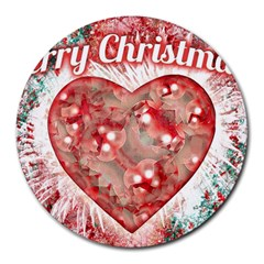 Vintage Colorful Merry Christmas Design 8  Mouse Pad (round) by dflcprints