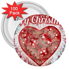 Vintage Colorful Merry Christmas Design 3  Button (100 Pack) by dflcprints