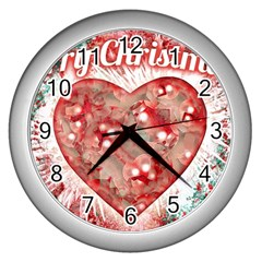 Vintage Colorful Merry Christmas Design Wall Clock (silver) by dflcprints