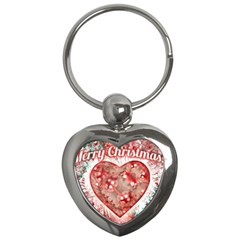 Vintage Colorful Merry Christmas Design Key Chain (heart) by dflcprints