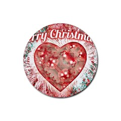 Vintage Colorful Merry Christmas Design Drink Coaster (round) by dflcprints