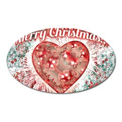 Vintage Colorful Merry Christmas Design Magnet (oval) by dflcprints