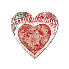 Vintage Colorful Merry Christmas Design Magnet (heart) by dflcprints