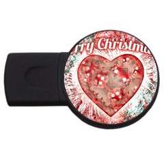 Vintage Colorful Merry Christmas Design 2gb Usb Flash Drive (round) by dflcprints
