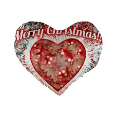 Vintage Colorful Merry Christmas Design 16  Premium Heart Shape Cushion  by dflcprints