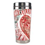 Vintage Colorful Merry Christmas Design Stainless Steel Travel Tumbler Left