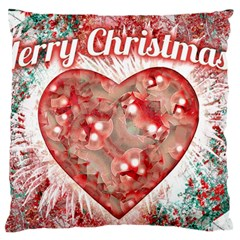 Vintage Colorful Merry Christmas Design Large Flano Cushion Case (one Side) by dflcprints