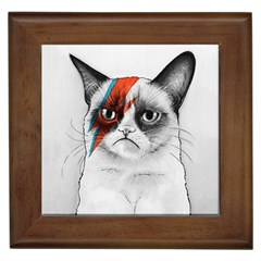 Grumpy Bowie Framed Ceramic Tile by Olechka