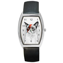 Grumpy Bowie Tonneau Leather Watch by Olechka