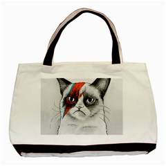Grumpy Bowie Twin Sided Black Tote Bag by Olechka