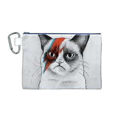 Grumpy Bowie Canvas Cosmetic Bag (Medium) by Olechka