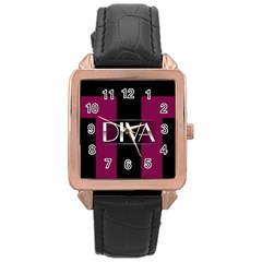 Pink Diva  Rose Gold Leather Watch  by OCDesignss