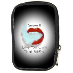 Smoke It Blk&white Lips  Compact Camera Leather Case by OCDesignss