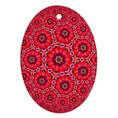 Red Flower Rosette Oval Ornament (two Sides) by rosetteornaments