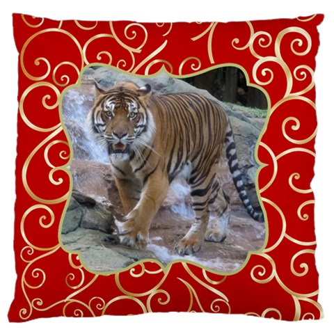 Red And Gold Standard Flano Cushion Case By Deborah   Standard Flano Cushion Case (one Side)   68mantq7yutp   Www Artscow Com Front