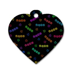 Meow Print Dog Tag Heart (One Sided)  by PrincessTrixiel