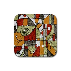 Multicolored Abstract Tribal Print Drink Coaster (square) by dflcprints