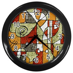 Multicolored Abstract Tribal Print Wall Clock (black) by dflcprints