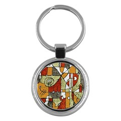 Multicolored Abstract Tribal Print Key Chain (round) by dflcprints