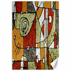 Multicolored Abstract Tribal Print Canvas 12  X 18  (unframed) by dflcprints